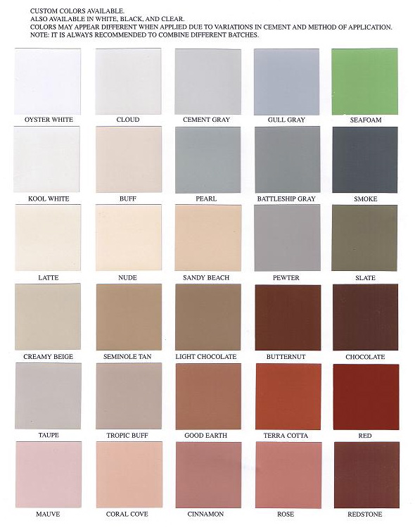 Davies Sun And Rain Elastomeric Paint Color Chart Paint Color Ideas